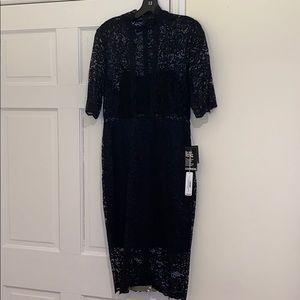EXPRESS sheer mockneck lace short slv midi dress